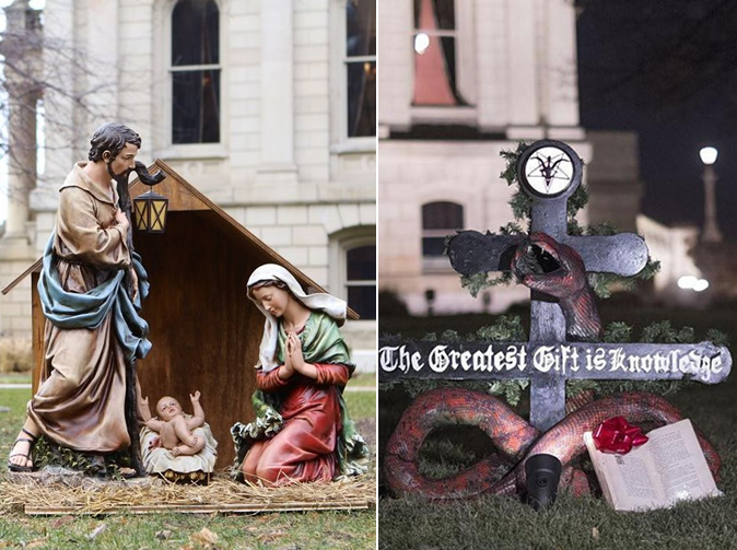 Christians and Satanists put up competing holiday displays