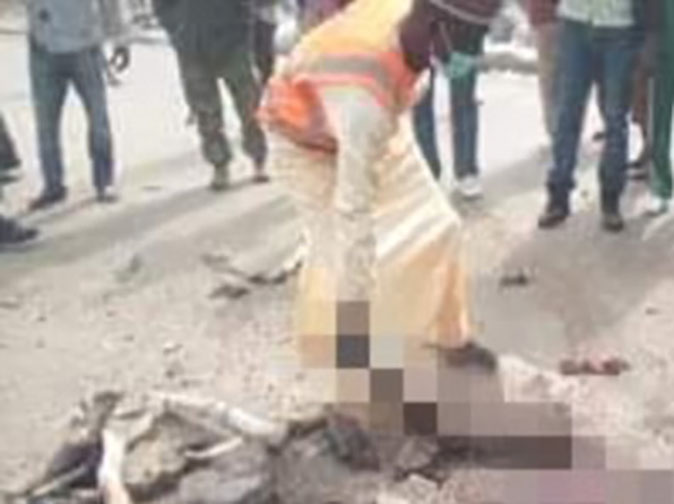 Female suicide bomber lynched to death after her explosive vest fails to detonate