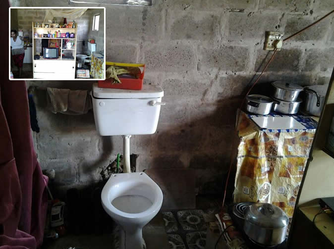 Family forced to use toilet built in their kitchen