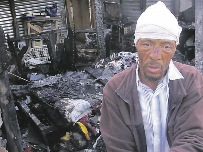 Man's house burned down after he refused to buy 'stolen goods'