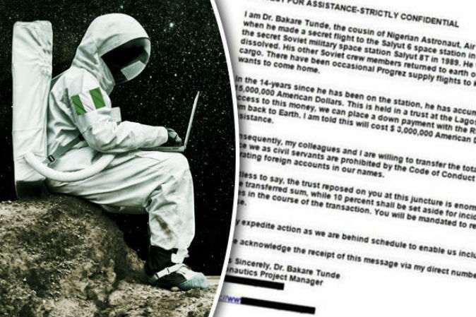 'Nigerian astronaut trapped in space, needs £2million to get home' - Scam