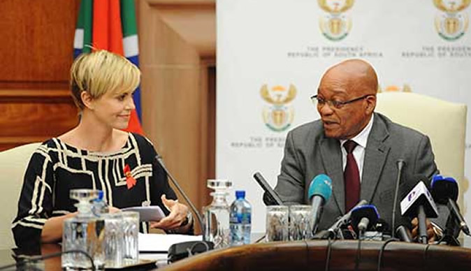 Charlize Theron meets president Zuma to discuss AIDS