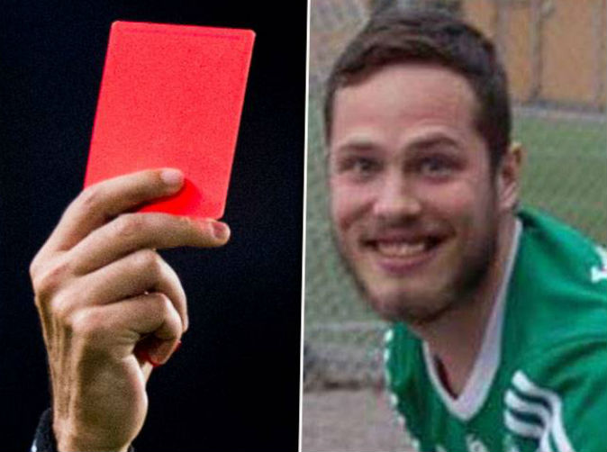 Swedish footballer given red card for farting