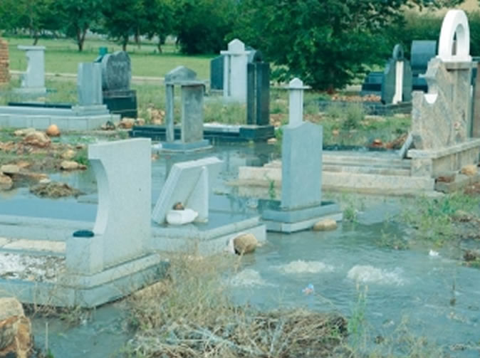 Families angry about raw sewage in graveyard