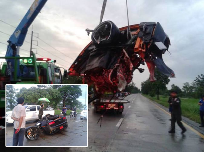 Businessman miraculously survives after car crash tears his Lamborghini Gallardo in two