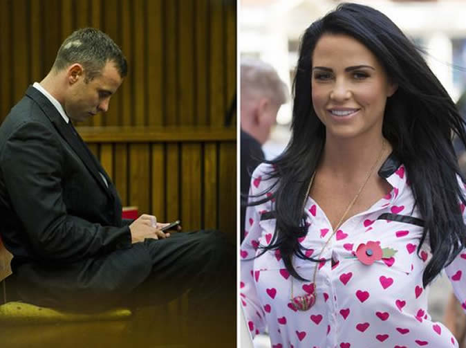 'He was direct messaging me during the case' model Katie Price says of Oscar Pistorius