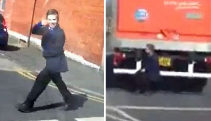 Lorry-surfing schoolboy reported to police by his own parents
