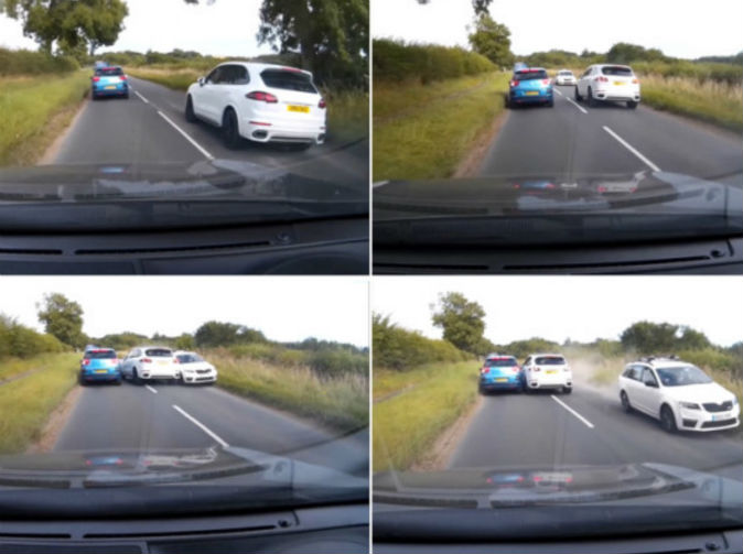 Porsche driver narrowly avoids head-on smash while overtaking on blind bend