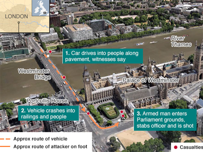 4 killed in Westminster terrorist attack