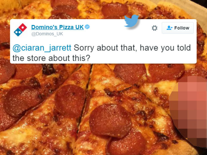 Domino's pizza apologises after wrinkled human testicle is 'found on pizza'
