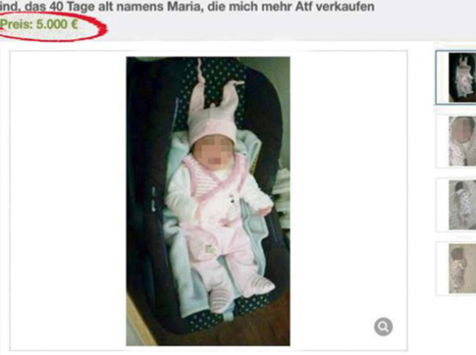 One-month-old baby girl put up for sale on eBay