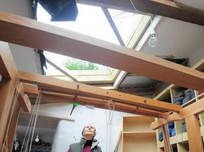 Woman shocked after cows fall through her roof