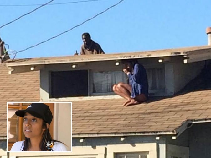 Actress pictured hiding on roof after intruder breaks into home