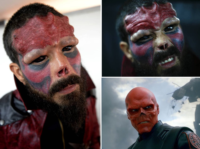 Man has nose cut off to look like super villain Red Skull