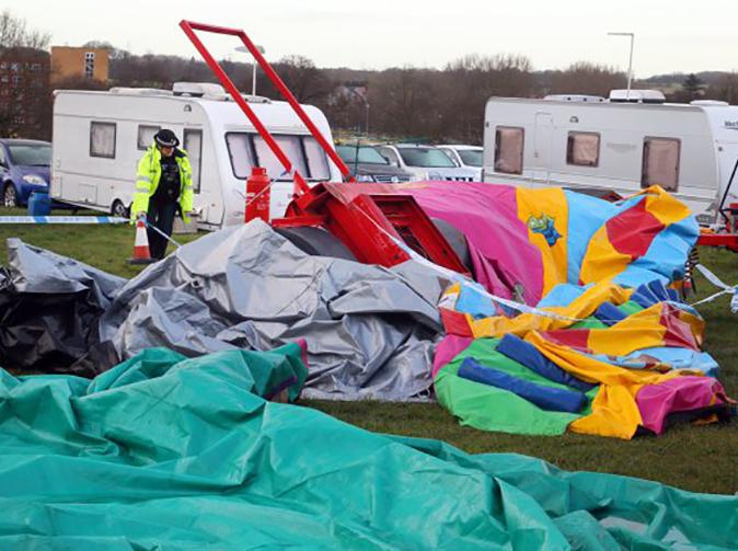 Child killed as bouncy castle she was playing on is blown 150 metres