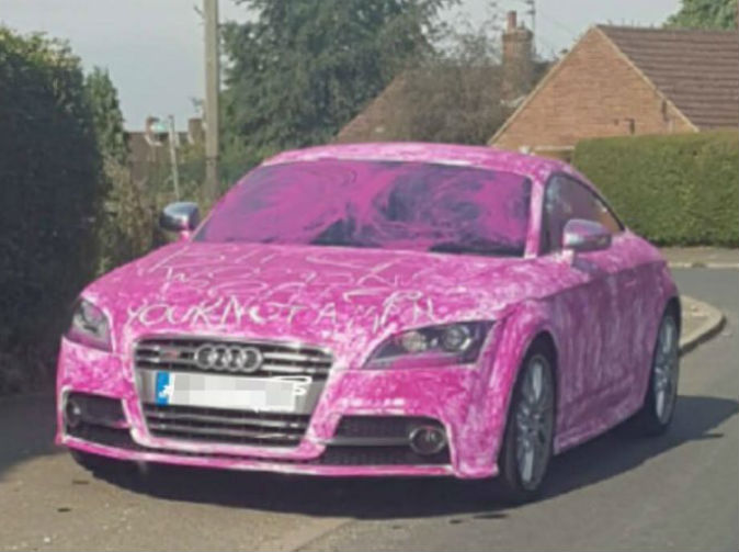 Audi driver finds car covered in pink paint