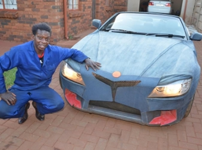 Cash strapped man builds his own sports car: Video