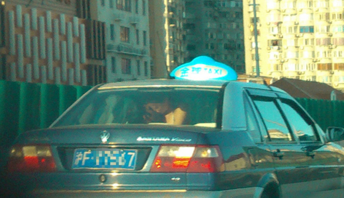 Couple having sex in taxi almost cause accident