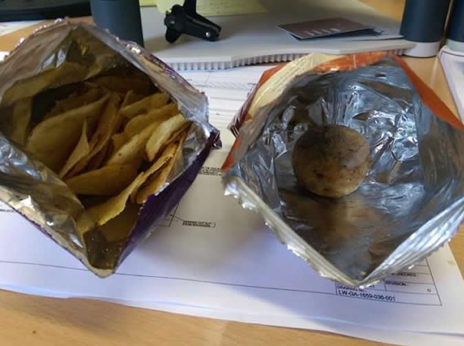 Customer finds a full, uncooked potato in his crisp packet - but no crisps