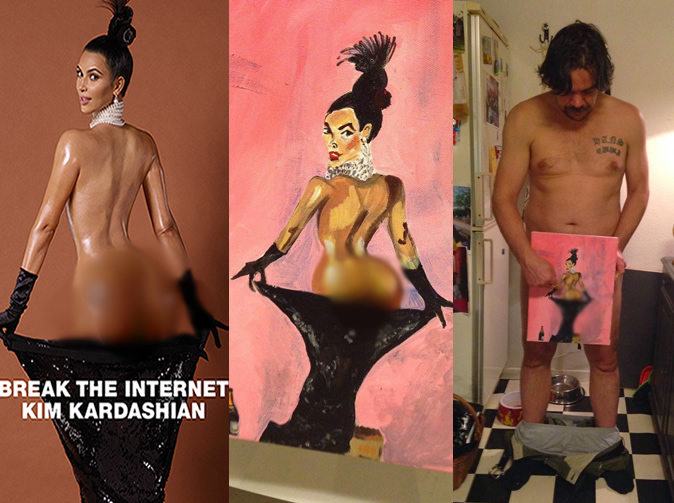 Artist paints Kim Kardashian using his privates