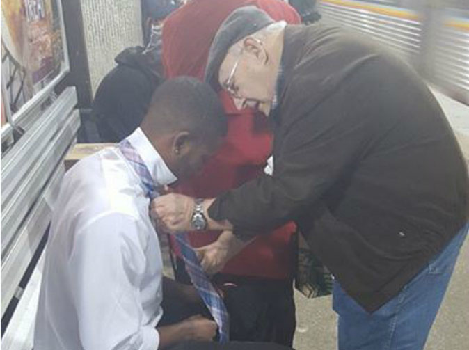 Photo of elderly couple helping young man with his tie has touched the world