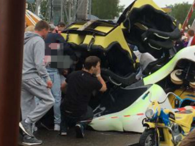Several hurt after roller coaster falls 30ft onto children's ride underneath