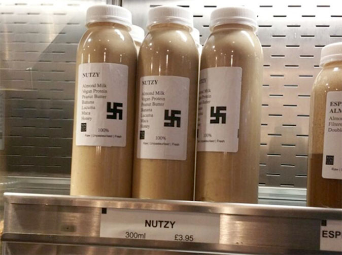 Cafe sells 'Nutzy' smoothie labeled with a swastika