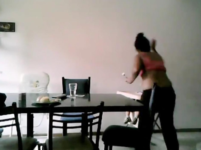 Nanny hits and steals food from baby
