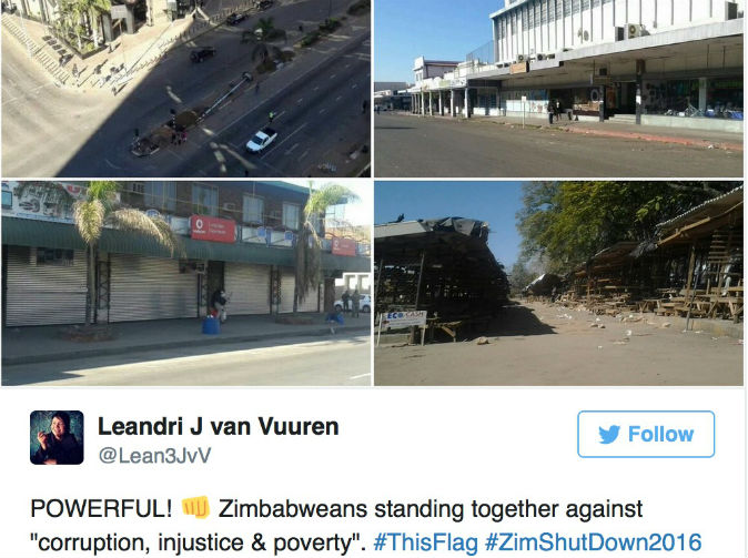 Zimbabwe shuts down in peaceful protest against corruption